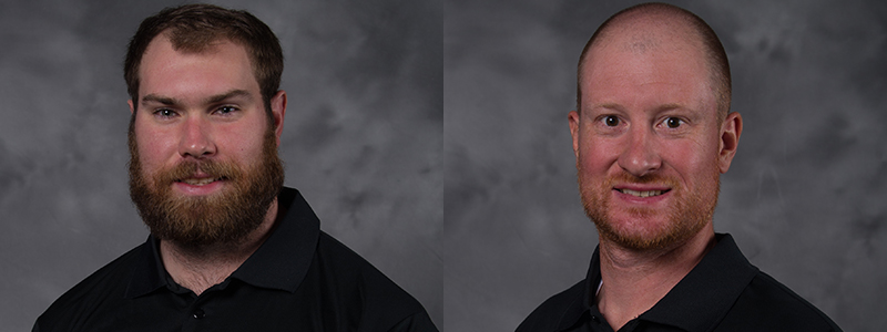 doug davidson left and kyle moore right are two of the newest members of the vegas golden knights hockey operations staff