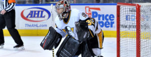 PETERS HOLDS DOWN THE FORT, PENGUINS OUST GRIFFINS, 2-1