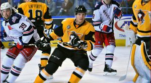 PENGUINS LOSE TO WOLF PACK, 3-2