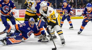 BLUEGER, HAGGERTY SCORE TWICE IN PENS' 5-2 WIN AT BRIDGEPORT