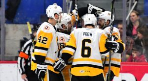 PENGUINS DEFEAT WOLF PACK IN OVERTIME, 5-4