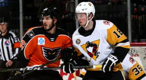 LAFFERTY'S HAT TRICK HELPS PENGUINS TO 5-4 OVERTIME WIN