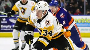 PENGUINS BARRAGE BRIDGEPORT WITH EARLY GOALS IN 3-1 WIN