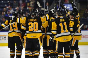 PENGUINS BEAT BRIDGEPORT IN SHOOTOUT, 3-2