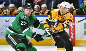 SECOND-PERIOD FLURRY NOT ENOUGH IN PENGUINS' LOSS TO STARS