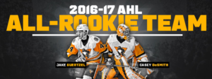 Read more about the article PENGUINS CASEY DESMITH AND JAKE GUENTZEL NAMED TO AHL'S ALL-ROOKIE TEAM