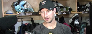 Read more about the article LEIGHTON LOOKING TO STOP PUCKS FOR, NOT AGAINST, PENGUINS