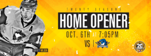 Read more about the article PENGUINS BEGIN 20TH SEASON AT HOME ON OCT. 6