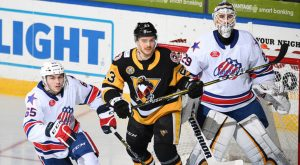Read more about the article HOT GOALIE HANDS PENGUINS 1-0 LOSS