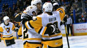 Read more about the article THIRD PERIOD COMEBACK LIFTS PENGUINS OVER SOUND TIGERS, 3-1