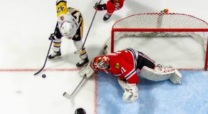 Read more about the article PENGUINS STYMIED BY FORSBERG, ICEHOGS IN 2-1 LOSS