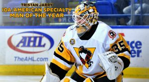 Read more about the article TRISTAN JARRY NAMED PENGUINS' WINNER OF IOA/AMERICAN SPECIALTY MAN OF THE YEAR
