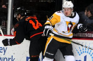 Read more about the article PENGUINS ERASE FIVE-GOAL DEFICIT, LOSE IN OVERTIME, 6-5