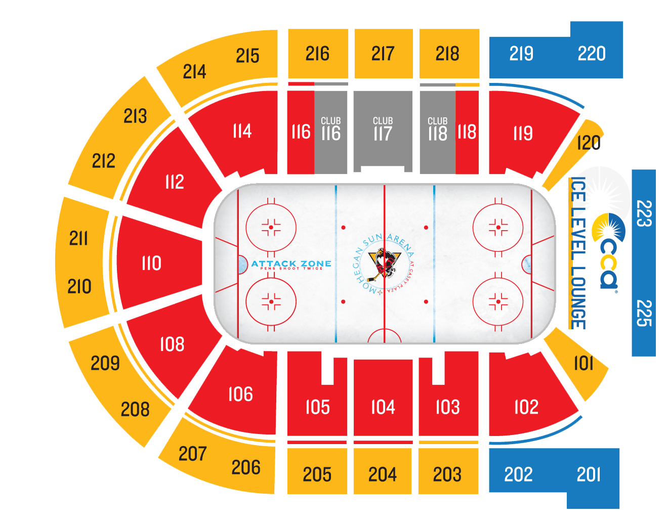 CCA Ice Level Lounge Seating Chart