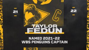 Read more about the article PENGUINS NAME TAYLOR FEDUN TEAM CAPTAIN FOR 2021-22